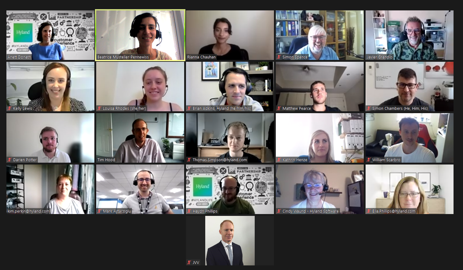 A screenshot of the Hyland Women In Networking EMEA group's workshop meeting to discuss gender equality.